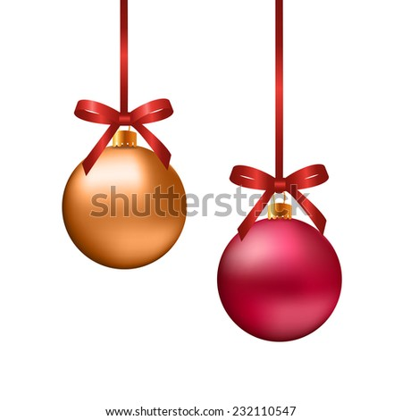 Red and gold Christmas balls with bows on white background,EPS10