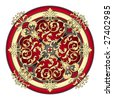 red and gold eastern ornament vector - stock photo