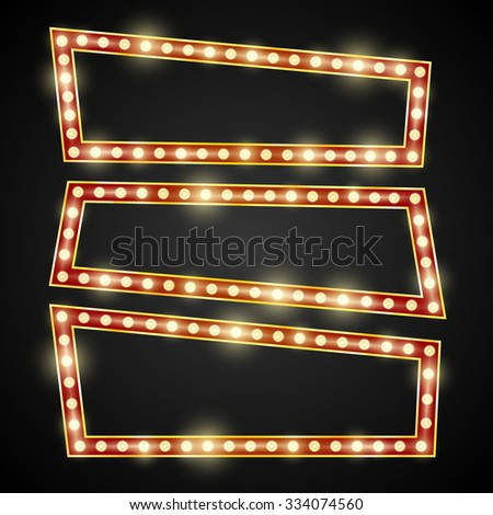 Red and gold frame retro comic design banner elements with  light bulbs, Vector illustration - stock vector