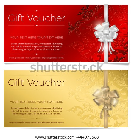 Red and gold gift voucher. Two gift vouchers with silver and gold bow. Vector illustration. - stock vector