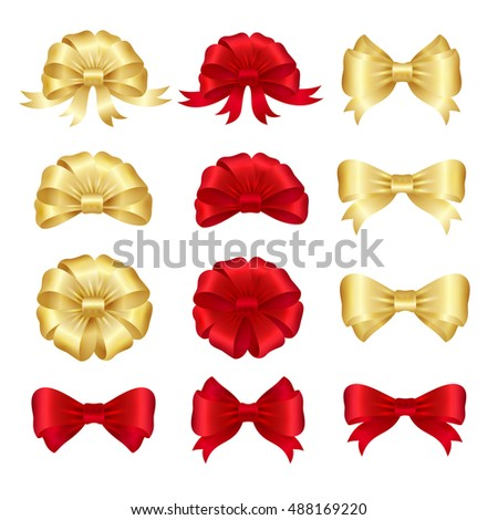 Red and gold ribbon bows set. Vector illustration
