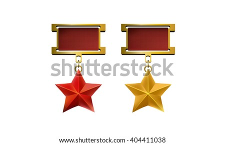 Red and gold star medal, vector eps10 illustration isolated on white background - stock vector