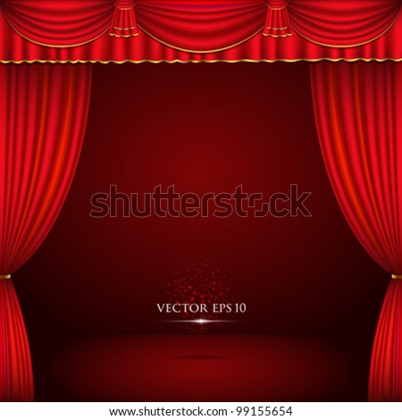 Red And Gold Theater Curtain Classic Background. Vector Illustration