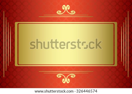 red and gold vector card with gold frame - stock vector