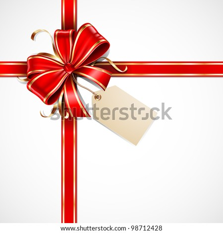 Red and gold vector gift bow with a blank tag and ribbons - stock vector