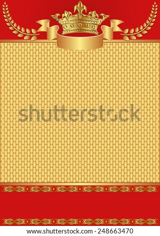red and golden background with crown - stock vector
