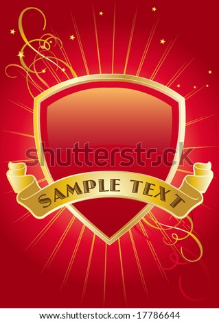 Red and Golden Shield. Vector Illustration. For more illustrations VISIT MY GALLERY. - stock vector