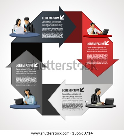 Red and gray template for advertising brochure with business people over arrows - stock vector