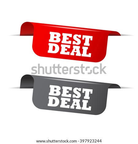 Red and gray vector illustration isolated sticker banner best deal two versions. This element is well adapted to web design. - stock vector