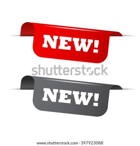 Red and gray vector illustration isolated sticker banner new two versions. This element is well adapted to web design.