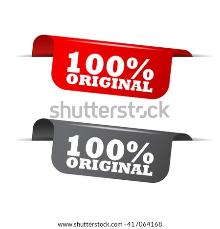 Red and gray vector illustration isolated sticker banner 100% original two versions. This element is well adapted to web design. - stock vector