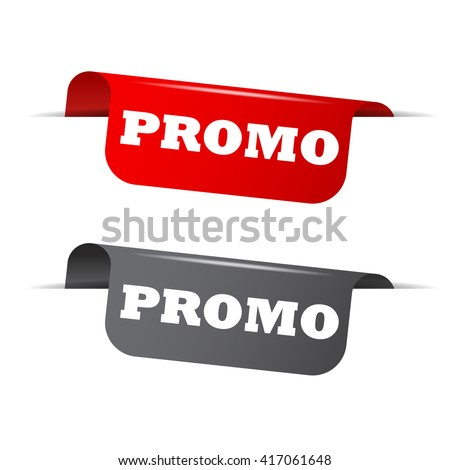 Red and gray vector illustration isolated sticker banner promo two versions. This element is well adapted to web design. - stock vector