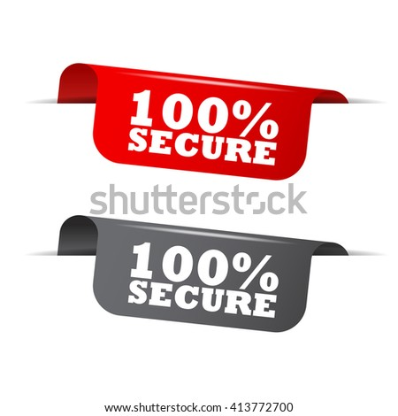 Red and gray vector illustration isolated sticker banner 100% secure two versions. This element is well adapted to web design. - stock vector