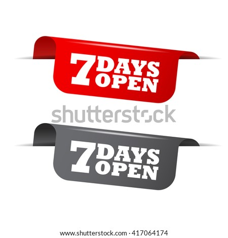 Red and gray vector illustration isolated sticker banner seven days open two versions. This element is well adapted to web design. - stock vector