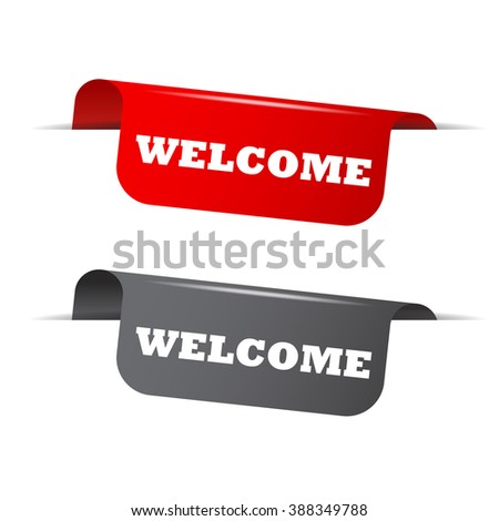 Red and gray vector illustration isolated sticker banner welcome two versions. This element is well adapted to web design. - stock vector