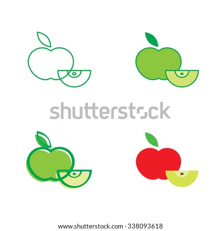 Red and green apple - fresh fruit icon - stock vector