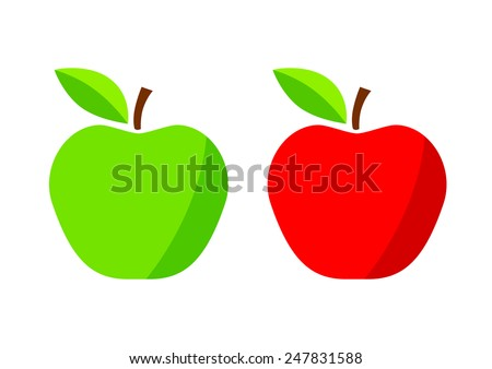 Red and green apple on white background - stock vector