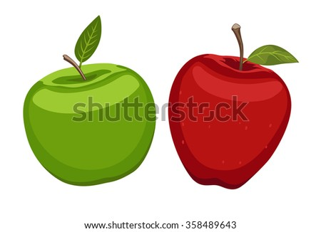 Red and green apple on white background