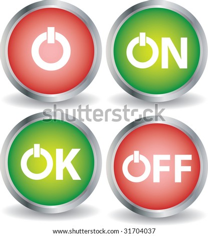 red and green button of on off and ok