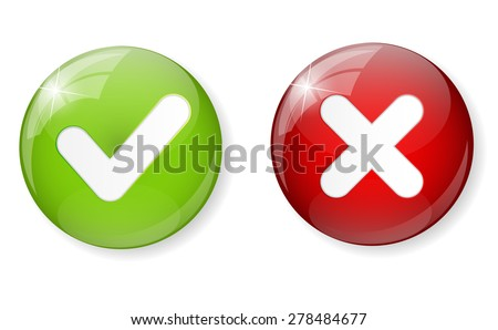 Red and Green Check Mark Icon Button Vector Illustration EPS10