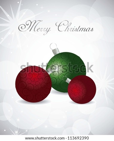 red and green christmas balls over gray background. vector