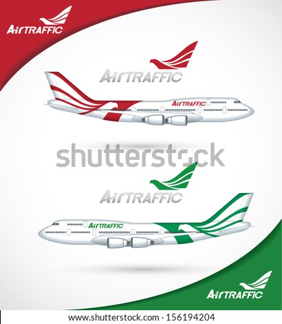 Red and green exterior design of aircraft with eagle as a motive  - vector illustration - stock vector