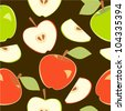 Red and green fresh apples on dark brown seamless pattern, vector - stock vector