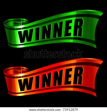 red and green glossy ribbons with word winner on it