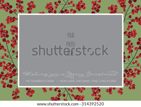 Red and Green Holly Berry Christmas/Holiday Photo Card Template - Vector - stock vector
