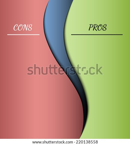 red and green parts with pros and cons - stock vector