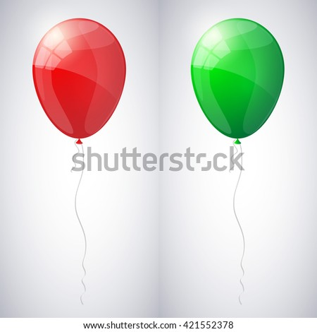 Red and green shiny glossy balloons. Vector illustration. - stock vector