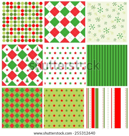 Red and green stripes, dots and stars christmas seamless pattern collection - stock vector
