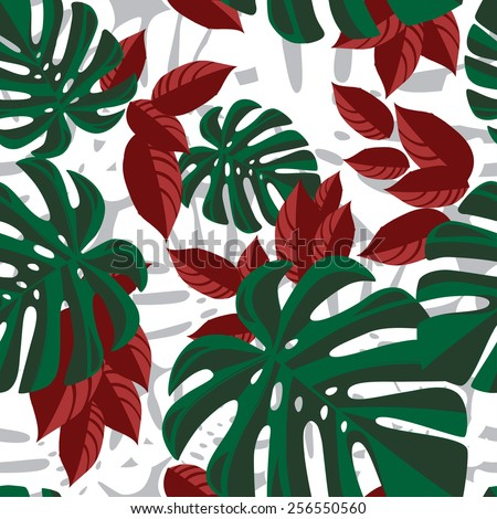 Red and green tropical foliage pattern on white background - stock vector