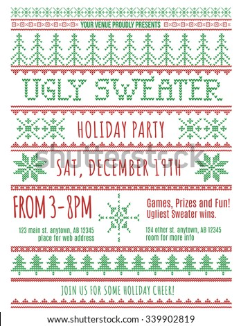 Red Green Ugly Christmas Sweater Party Stock Vector 339902819 ...