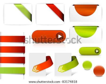 Red and green vector elements for web pages - buttons, navigation, pointers, arrows, badges, ribbons - stock vector