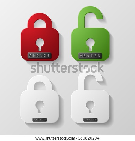 Red and green with white lockers on codes - stock vector