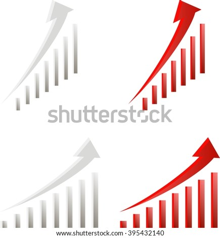 Red and light grey growth charts, two angles, gradient, vector