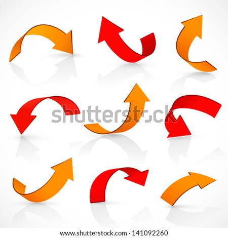 Red and orange arrows - stock vector