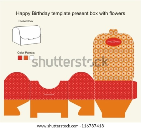 Red and Orange Present Box with Happy Birthday label - stock vector