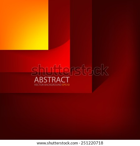 Red and orange square vector background hot color tone box overlap layer angle with space shadow for text and message modern artwork design - stock vector