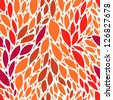 Red and orange tropic leaves floral seamless pattern, vector - stock vector