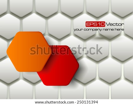 Red and orange vector hexagons technology and communication background. Vector illustration - stock vector