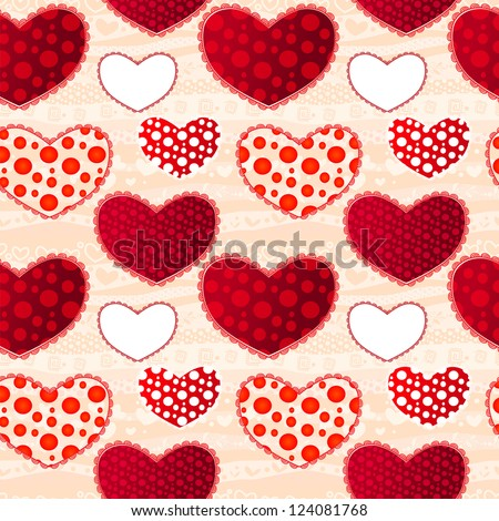 Red and Pink Love Valentin's Day Seamless Pattern. Vector Illustration for your design - stock vector