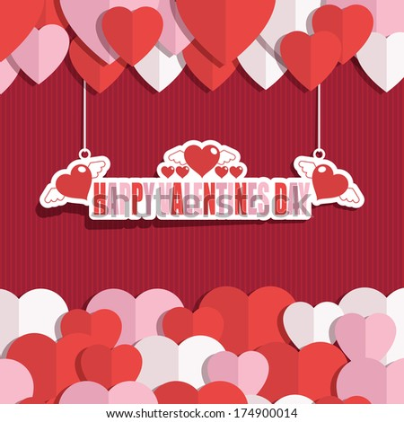 red and pink valentine decoration with hanging ornament, eps 10 format with transparencies and clipping path