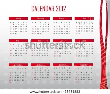 red and silver calendar 2012 background. vector illustration - stock vector