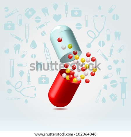 Red and transparent capsule suddenly opened in lighted space on a medical icons background illustration - stock vector