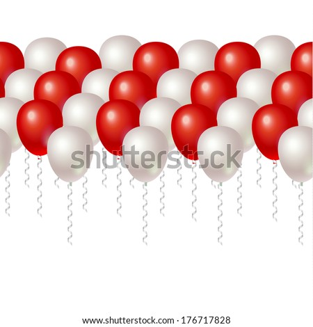 Red and White balloons. Seamless background - stock vector
