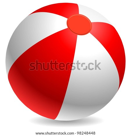 Red and white beach ball isolated on white background. - stock vector