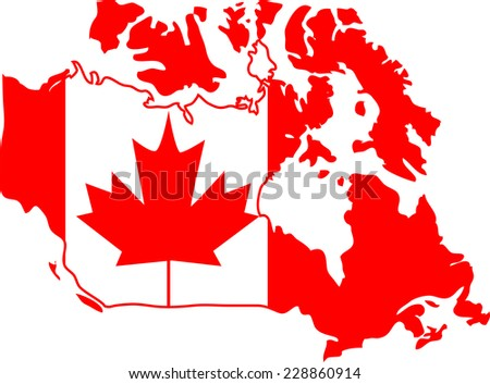 Red and white Canada map - stock vector