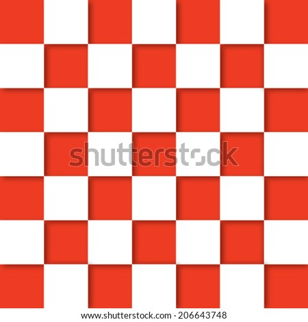 Red and white checkered abstract background. - stock vector